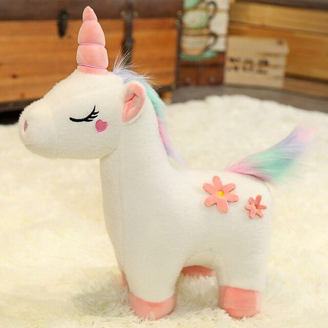 Cute Plush Unicorn Toy Soft Stuffed Unicorn Dolls Pink White unicorn birthday Party Gifts Soft BabyDoll Kids Toys Girls Present