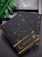 12 constelações diário bonito caderno capa dura em branco com papel preto diário caderno presente criativo