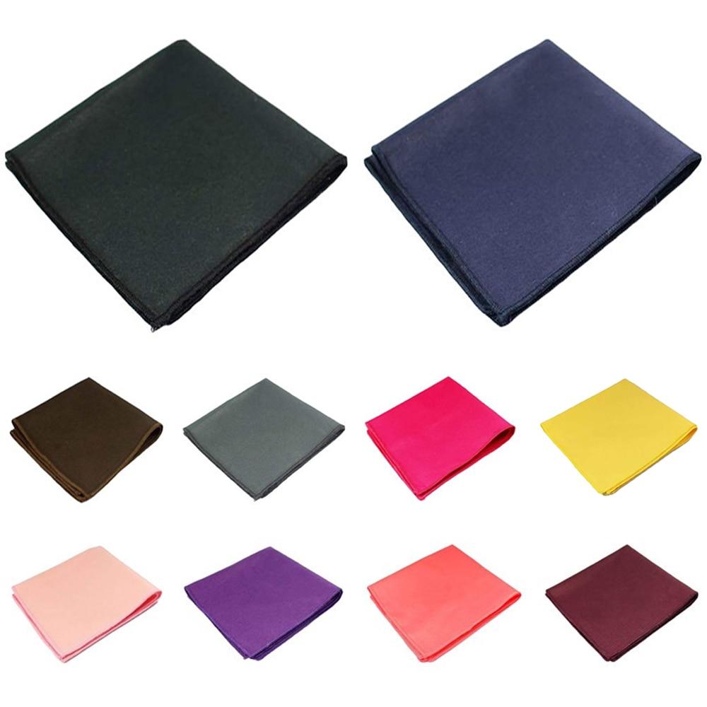 Men High Quality Cotton Solid Pocket Square Wedding Party Handkerchief Hanky BWTQN0324