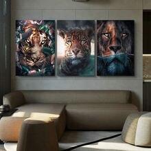 Креативные животные и растения листья Лев тигр Картина на холсте