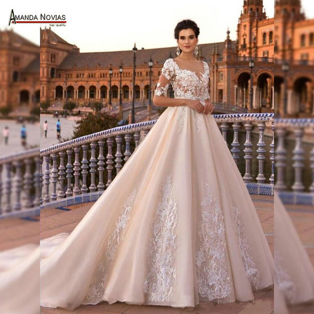 Sleeves champagne color wedding dress bridal gown