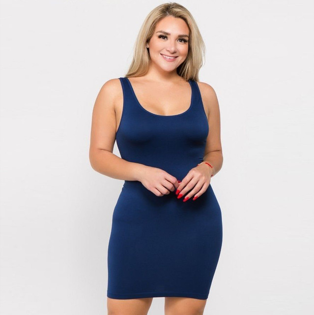 Plus Size Dresses For Women 4xl 5xl 6xl Party Bodycon Dress Elegant Midi O-neck Solid Color Sleeveless Sexy Dress Women Club#g6 2