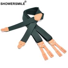 Zieleń wojskowa mężczyźni szelki koszula z guzikami szelki solidna skóra wysokiej jakości męskie szelki szelki 125cm * 3 5cm tanie tanio SHOWERSMILE CN (pochodzenie) PRAWDZIWA SKÓRA Dla osób dorosłych Stałe moda Suspenders SZ20180802 3 5X125CM 6 clip Strong
