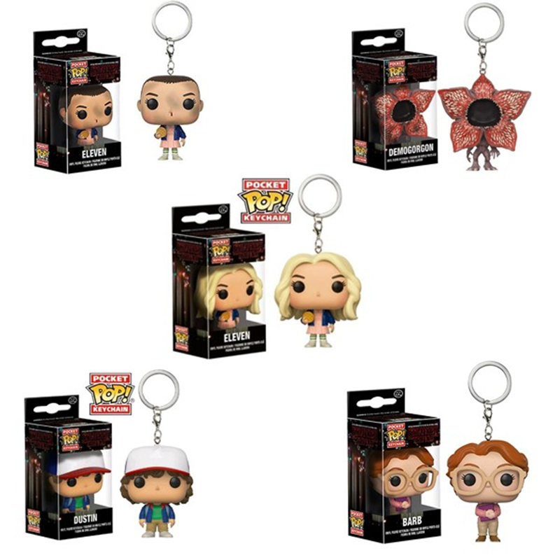 FUNKO POP Stranger Things Theme Eleven Dustin Barb Keychain Action Figures Collection Toys For Children Christmas Gift
