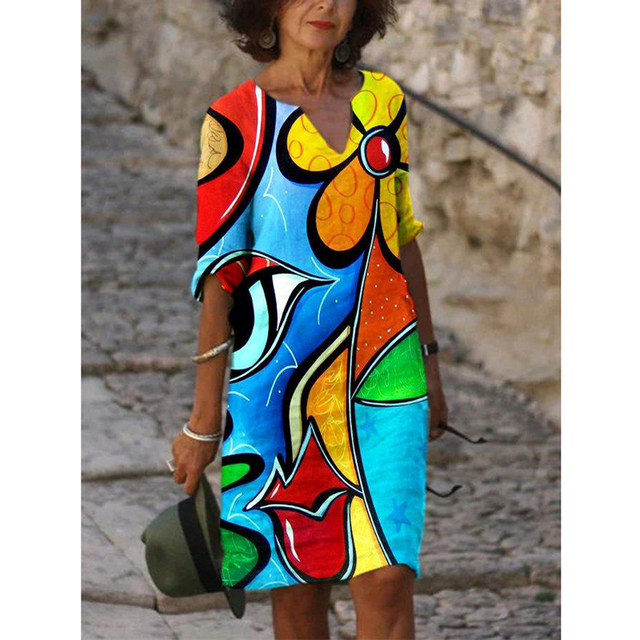 Plus Size Casual V Neck Abstract Printed Dresses 2
