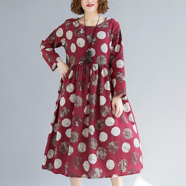 Cotton Linen Long Sleeve Autumn Dress Print Dot Loose Women Dress Plus Size Vintage Dress Female Spring Casual Midi Dress 1