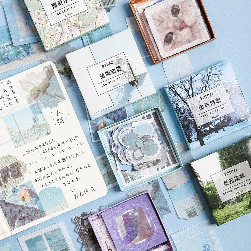 JIANWU 80sheets Color World Washi Sticker Cute Large Capacity Sticker Bag DIY Bullet Journal Decorative  Stickers Scrapbooking