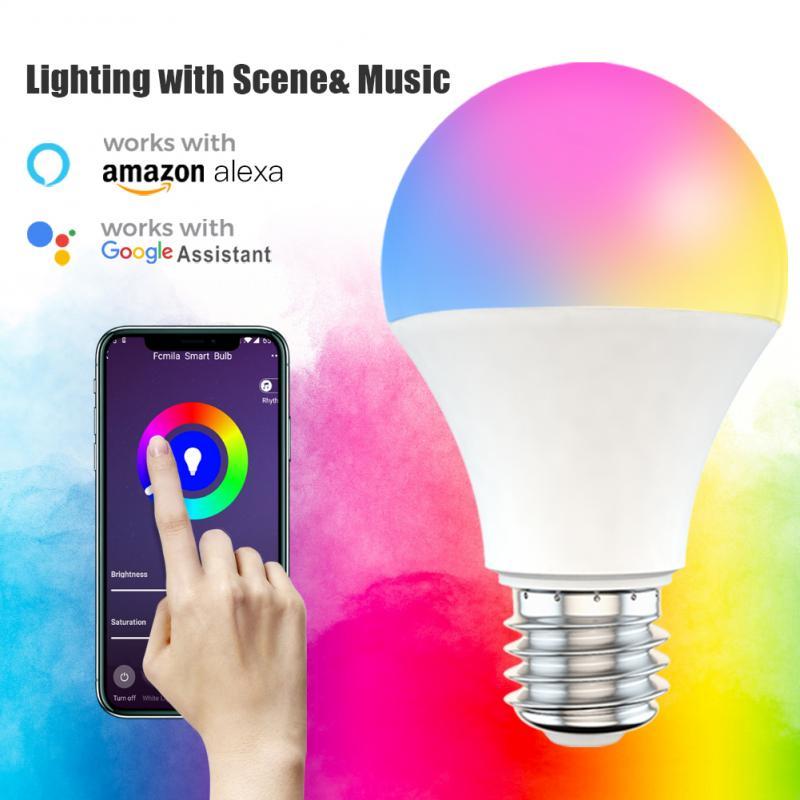 9W WiFi умный светильник лампа RGB + CCT Dimmable E27 B22 WiFi лампа накаливания, совместимый с Amazon Alexa Google Home смартфон
