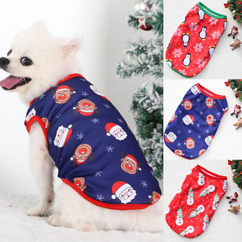 Kamizelki z nadrukiem z psem w stylu świątecznym kolorowe kamizelki z kotami artykuły dla zwierząt wygodne kamizelki świąteczne ubrania dla małych średnich psów tanie i dobre opinie CN (pochodzenie) Jesień zima POLIESTER