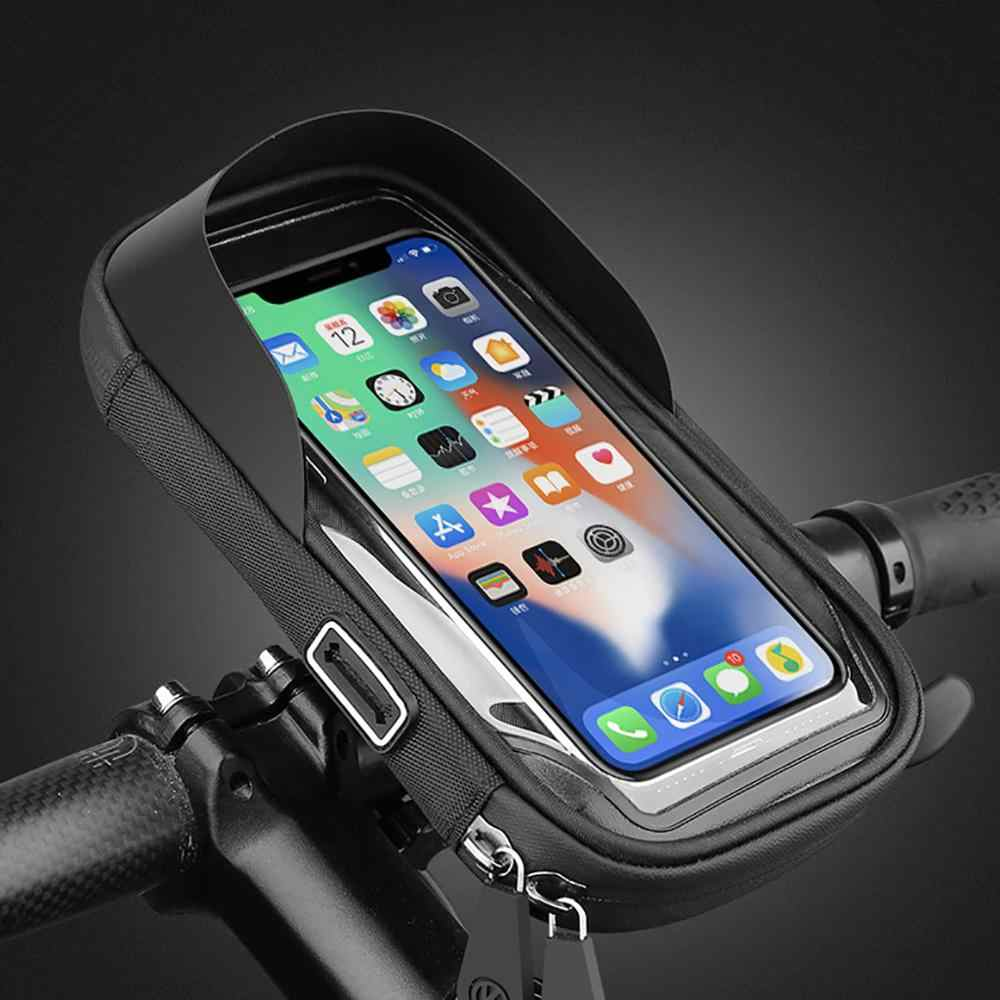 กันน้ำรถจักรยานยนต์ผู้ถือโทรศัพท์มือถือกระเป๋า MTB Touch หน้าจอ 4.5-6.5 นิ้ว #5V29
