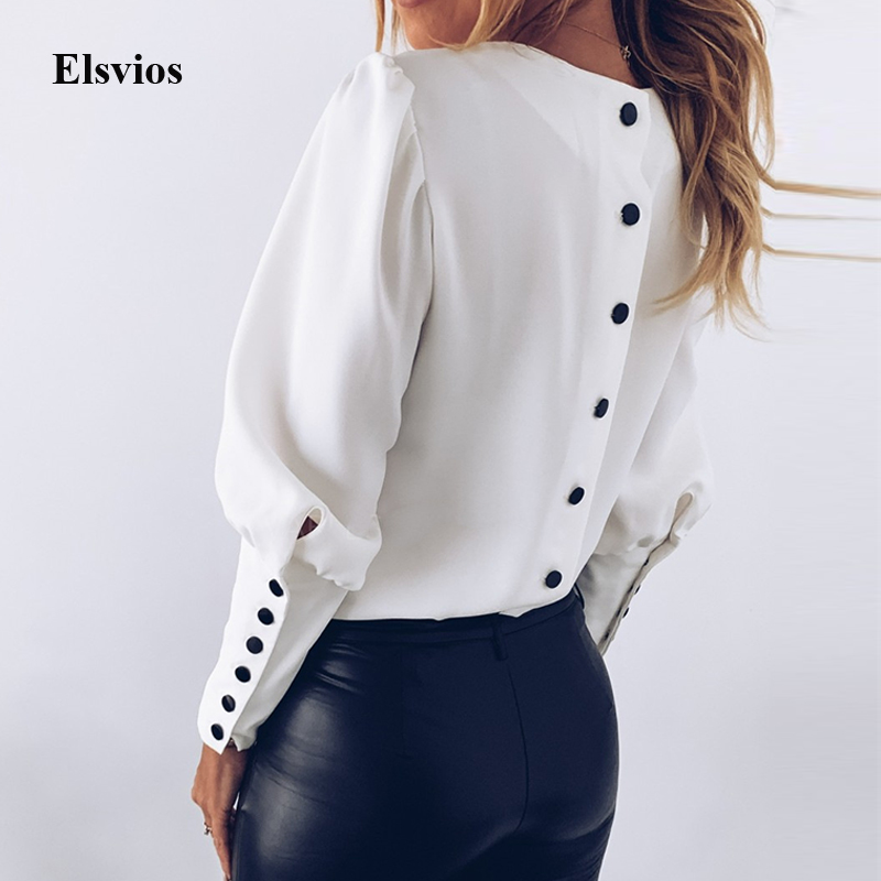Spring Autumn O Neck White Blouse Shirts Elegant Office Lady Back Metal Buttons Blouses Casual Women Long Sleeve Blusa Tops 3XL