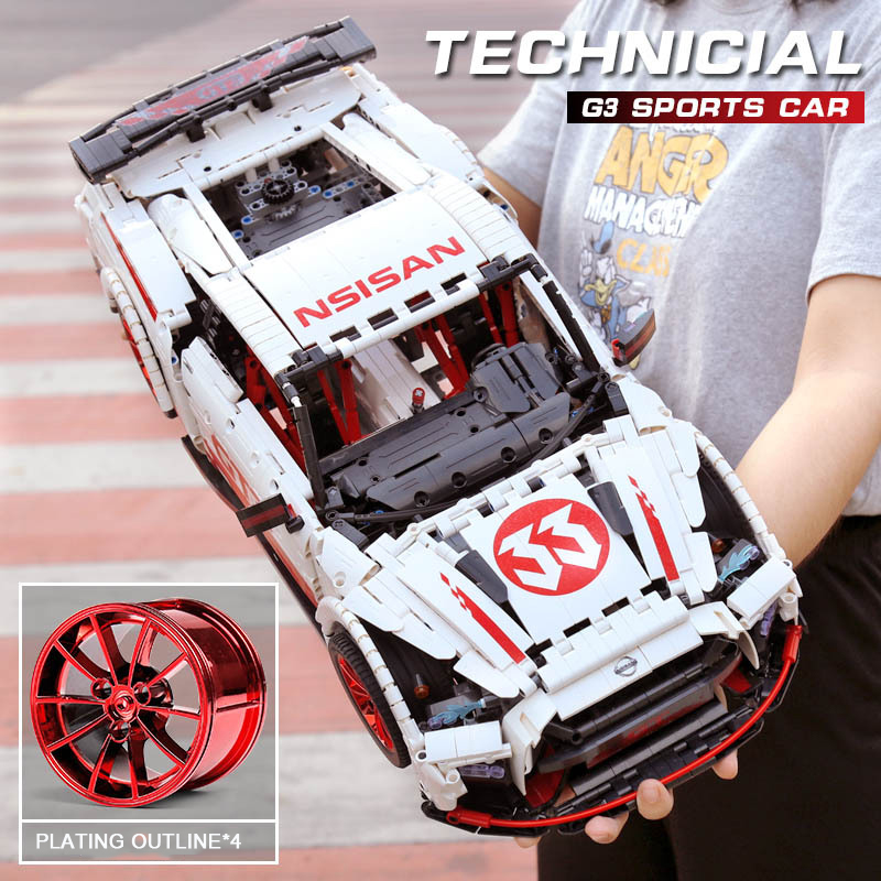 3408 Pcs GT-R RC Racing Car With Motor function remote control <font><b>MOC</b></font> <font><b>22970</b></font> 25326 Building Blocks Bricks led light toys for kids image