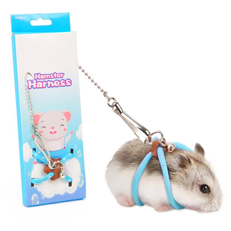 Hot Small Pet Hamster Leash Harness Set Adjustable Small Animal Leash With Bells Pet Hamster Walking Leash Supplies Accessories