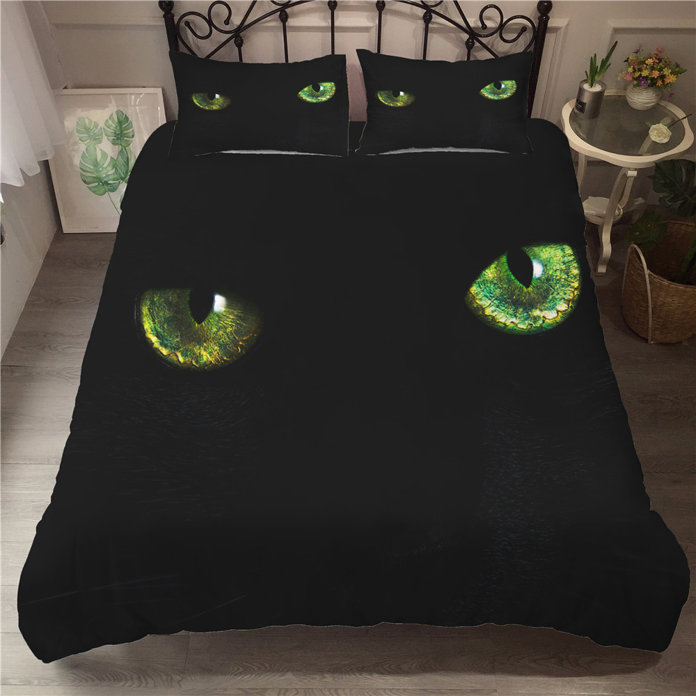 MEI Dream Cat Eyes Beddings and Bed Sets 3d Printed Double Bed Coverlet Black Bedding Bedclothes