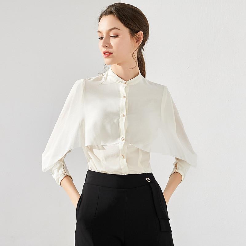 100% Silk Blouse Women Casual Style Solid Stand Neck One Quarter Sleeve Slim Waist Cardigan Top Women Office Elegant Fashion