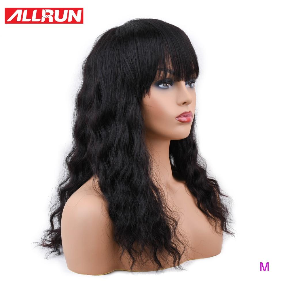 Allrun malásia oceano onda perucas de cabelo humano com franja ajustável perucas de cabelo humano não remy cabelo curto máquina de perucas relação média