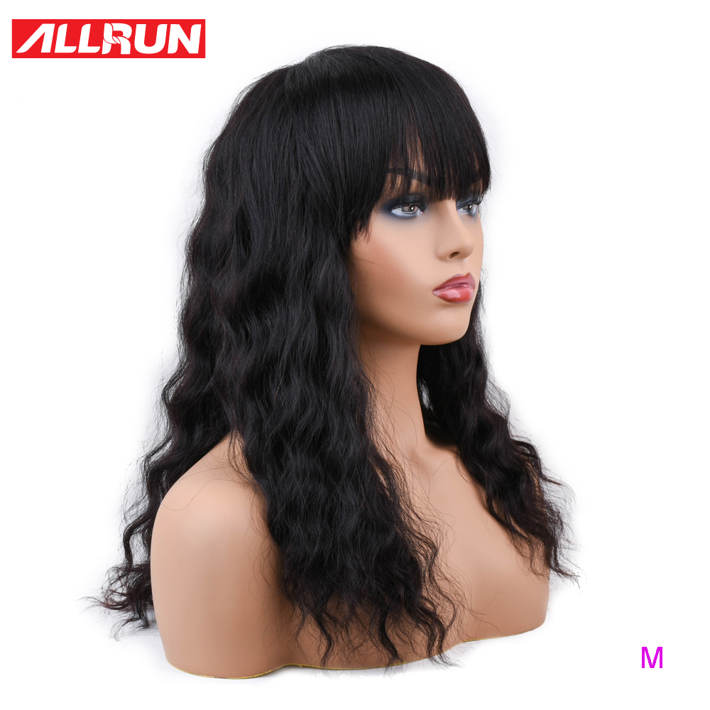 ALLRUN Malaysia Ocean Wave Human Hair Wigs With Adjustable Bangs Human Hair Wigs Non-Remy Hair Short Wigs Machine Middle Ratio