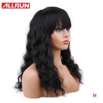 ALLRUN malaisie océan vague perruques de cheveux humains avec frange réglable perruques de cheveux humains non-remy cheveux courts perruques Machine rapport moyen