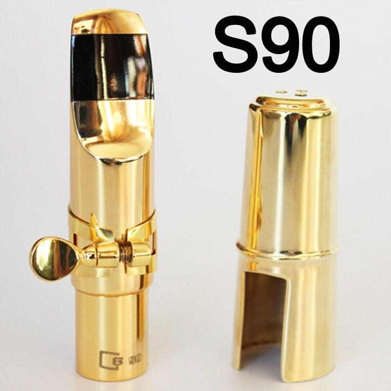 Free Shipping Professional France Tenor Soprano Alto Saxophone Metal Mouthpiece Gold Lacquer S90 Sax Mouthpiece Sax 5 6 7 8 9