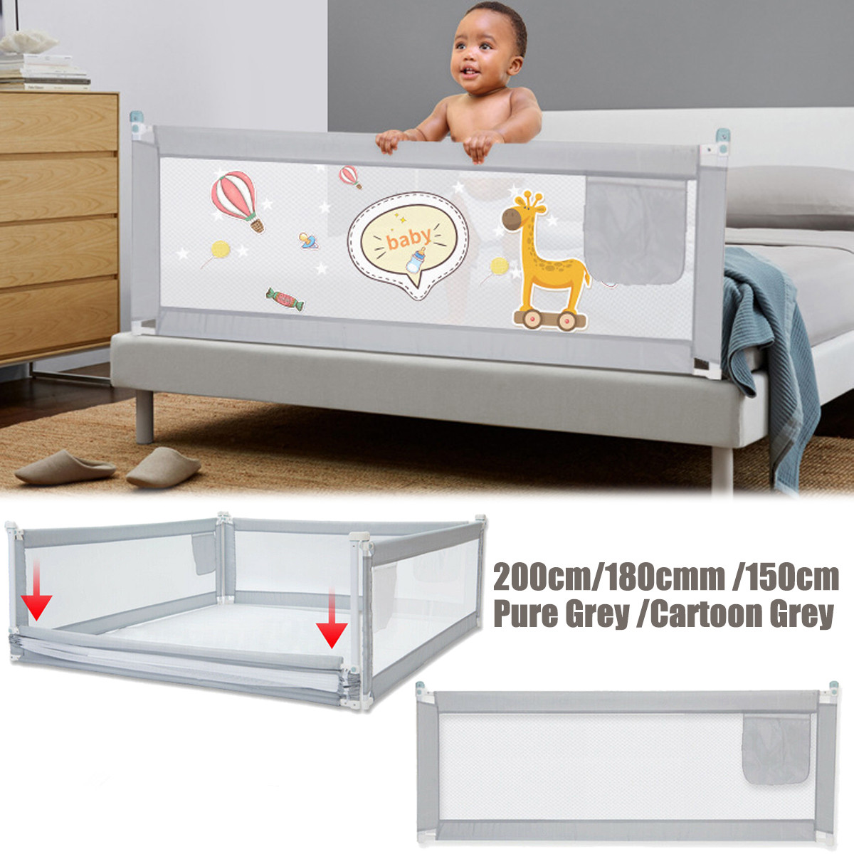1.5M/1.8M/2M Adjustable Height Kid Bedguard Toddler Bed Rail Guard Rail Folding Sleep Kids Safety Gate For Baby Safe Guard