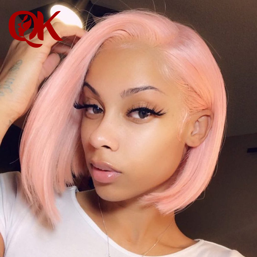 Queenking Hair 250% Density Baby Pink Short Bob Lace Front Human Hair Wigs Preplucked Natural Hairline Brazilian Remy Hair