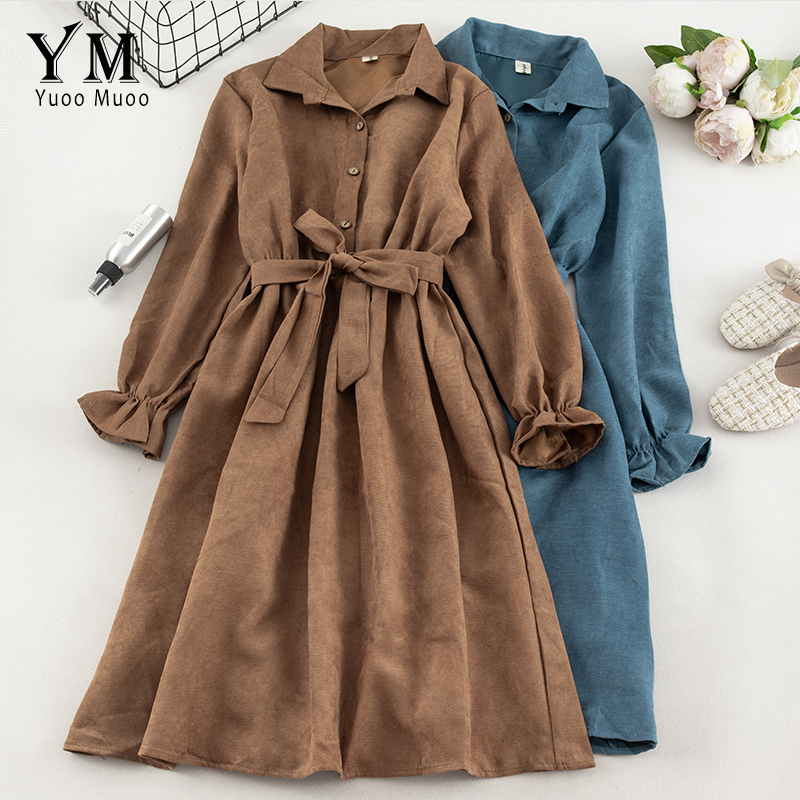 YuooMuoo Autumn Dress Women Turn Down Collar Long Flare Sleeve Sashes High Waist Female Dress Solid Vintage Shirt Dress Vestidos