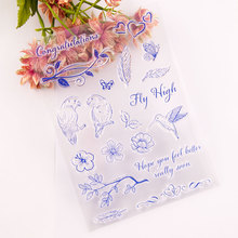 Clear Stamps Seal for DIY Scrapbooking Card Flowers Leaves Bird Rubber Stamps Making Album Photo Crafts Decoration New Stamps azsg lovely cat clear stamps seal for diy scrapbooking card making photo album decoration supplies