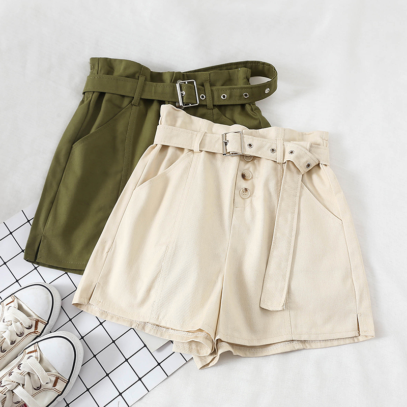 2020 New Summer Casual High Waisted Shorts Women Fashion Sashes Loose Wide Legs Shorts Button Sporting Shorts Female