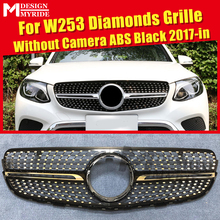 front grille suitable for glc class w253 gtr 2015 2018 x253 glc200 glc250 glc300 glc450 glc63 grille without central logo W253 GLC Class Grills Diamond Grille Without sign For MercedesMB W253 Sport GLC250 350 400 ABS Black Grille Without Camera 17-in