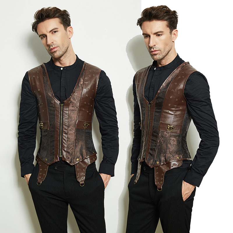 Steampunk Men Dark Brown Mens Gothic Clothing Faux Leather Waistcoats Vest 12 Steel Boned Longline Corset Drop Shipping