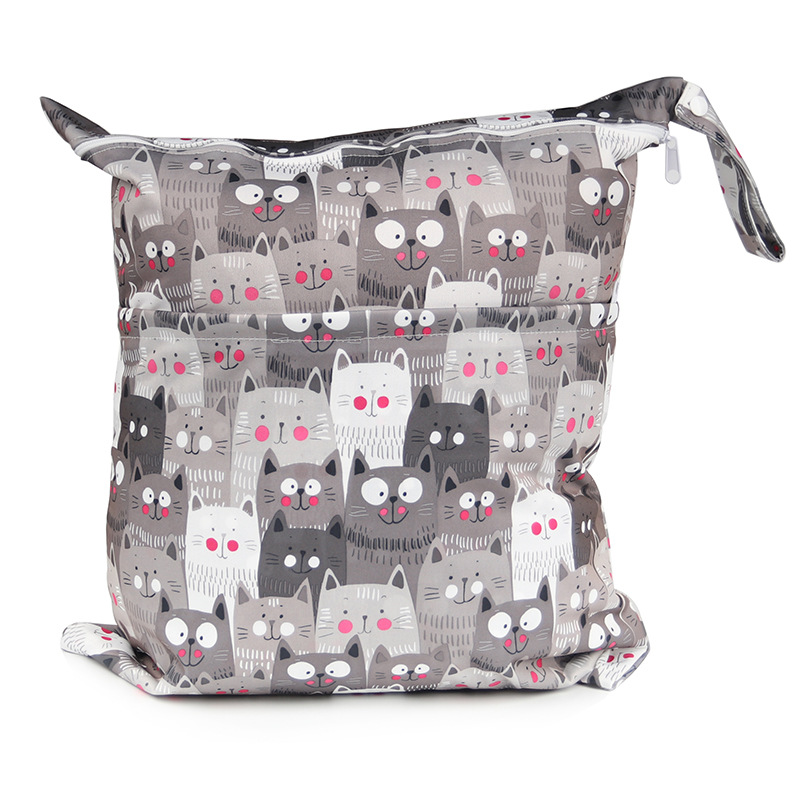 Large Size Infant Double Zipper Buttons Leisurely Printed Diaper Bag Waterproof Bag-15 Pattern-Choice