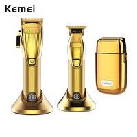 Kemei Kit tagliacapelli professionale per barbiere 0mm Trimmer Set di macchine per la finitura del rasoio elettrico Clip li-on senza fili/con filo