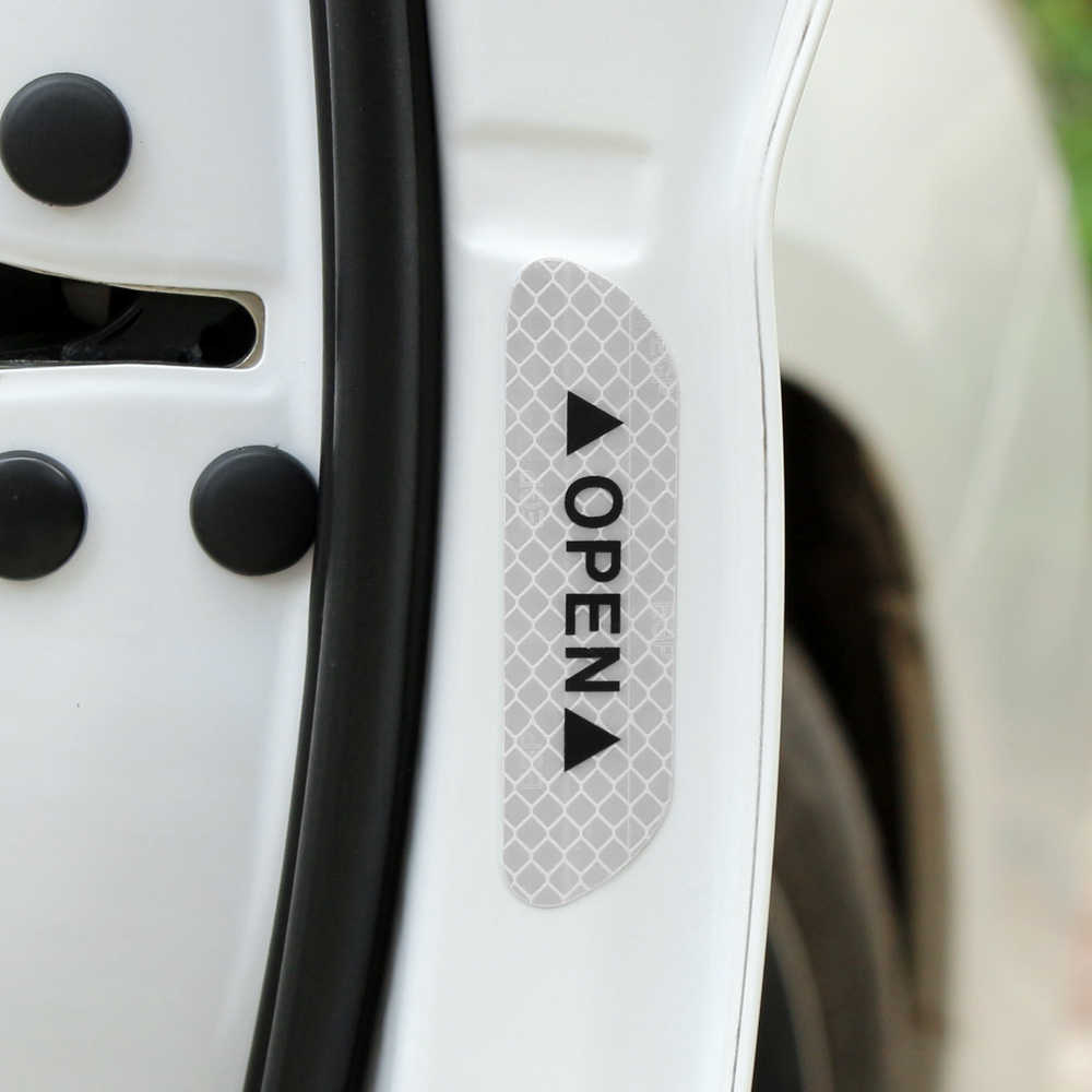 4Pcs 경고 마크 반사 테이프 범용 외관 액세서리 자동차 도어 스티커 아우디 A4 B6 A3 A6 C5 Q7 A1 A5 A7 A8 Q5 R8