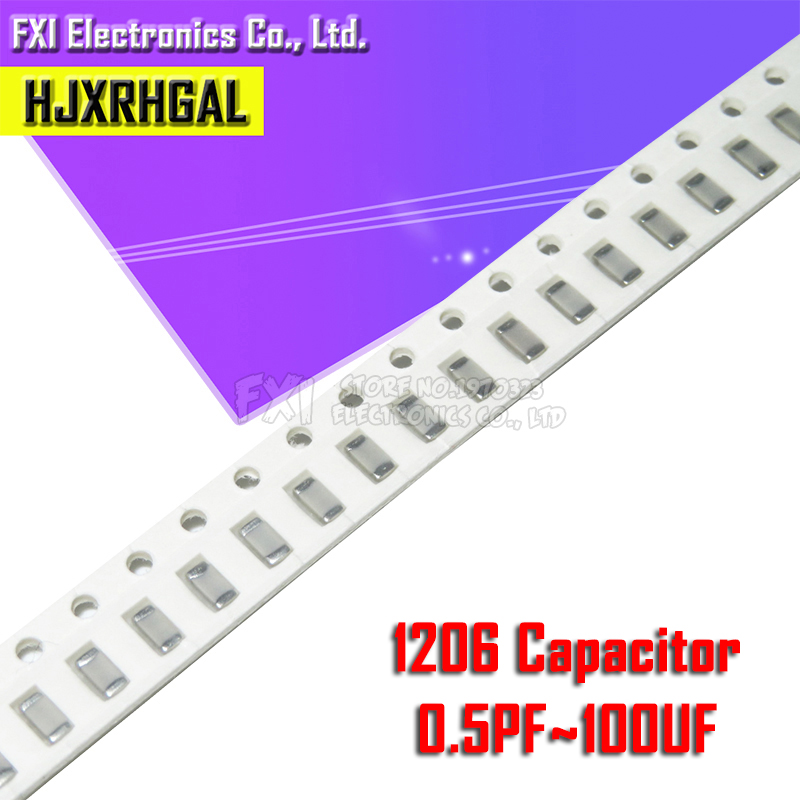 100pcs 1206 50V SMD Thick Film Hjxrhgal Chip Multilayer Ceramic Capacitor 0.5pF-100uF 10NF 100NF 1UF 2.2UF 4.7UF 10UF 1PF 6PF
