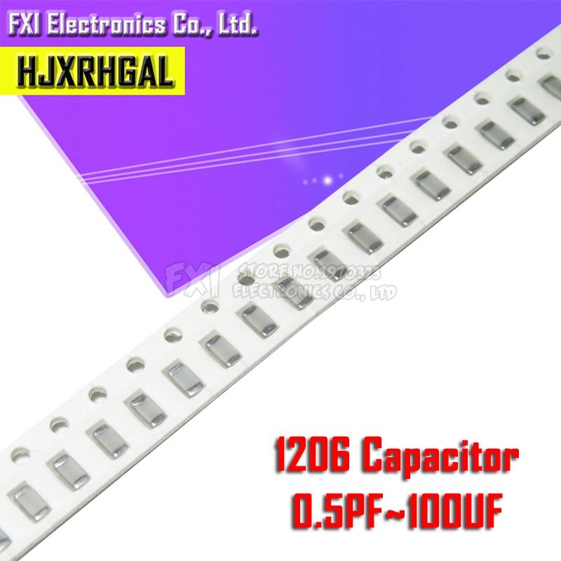 100pcs 1206 50V SMD Thick Film Hjxrhgal Chip Multilayer Ceramic Capacitor 0.5pF-100uF 10NF 100NF 1UF 2.2UF 4.7UF 10UF 1PF 6PF