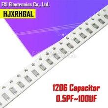 Película gruesa SMD de 100 Uds., 1206, 50V, Chip hjxrhgal, condensador de cerámica multicapa, 0,5pf-100uF, 10NF, 100NF, 1UF, 2,2 UF, 4,7 UF, 10UF, 1PF, 6PF