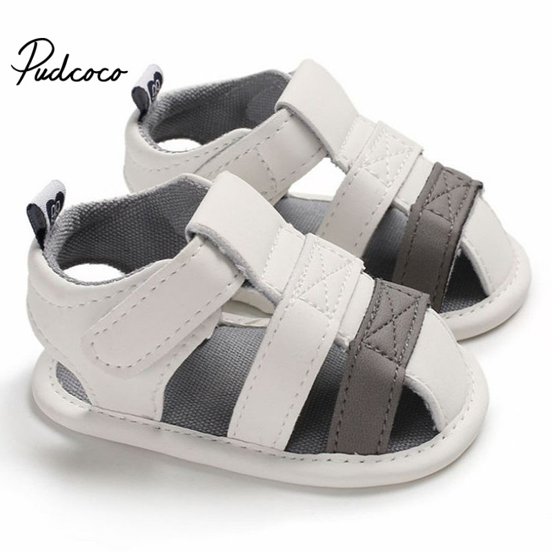 Baby Summer Shoes Newborn Boy Crib Soft Sole Leather Shoes Breathable Pu Infant Causal Anti Slip  Prewalker Sandals 0-18M