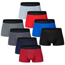 8 pçs masculino calcinha de algodão boxers cueca masculina respirável dos homens sexy sólido cuecas troncos marca shorts boxer