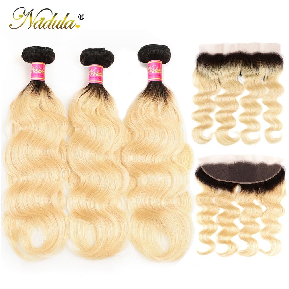 Nadula Hair  Body Wave Hair Bundles With Lace Frontal 3 Bundles T1b/613 Hair 13*4  Bundles With Closure 1