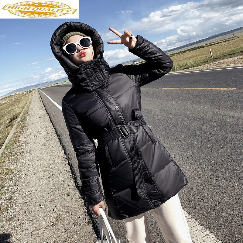 2020 Women's Down Jacket Hooded Winter White Duck Down Coat Korean Fashion Puffer Jacket Doudoune Femme Hiver MER1990