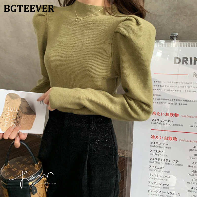 BGTEEVER Vintage Puff Sleeve Women Knitted Sweaters 2020 Winter Casual O-neck Full Sleeve Knit Tops Female Jumpers Warm Sweaters