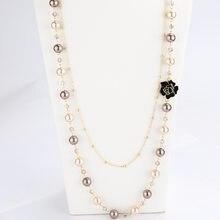 Colgantes de Camelia larga para mujer, collar de perlas en capas, Collares de moda, joyería de fiesta de flores