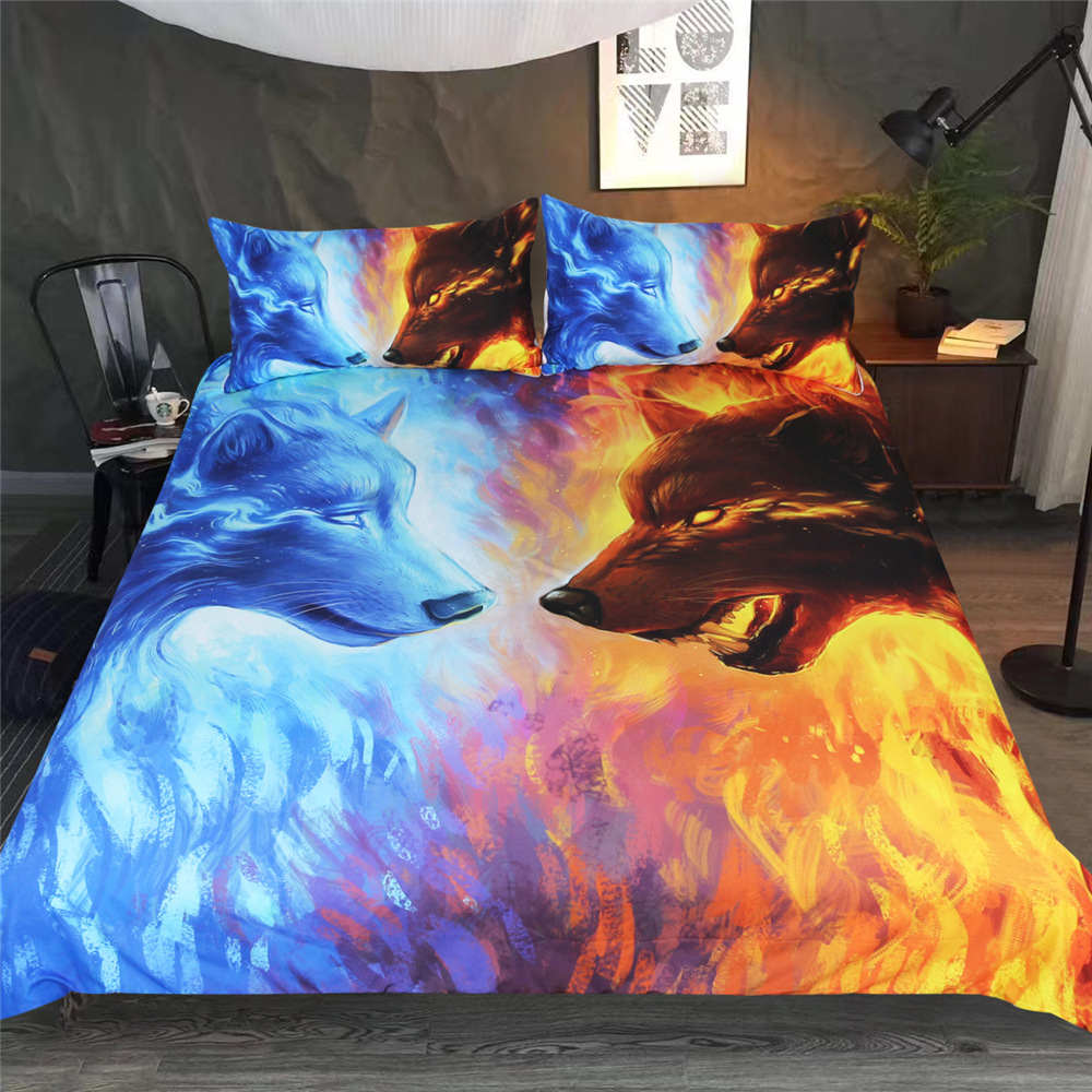 Luxury Home Textile Bedding Set With Water And Fire Wolves 2/3pcs Duvet High Quality Cover Set Pillowcases Comforter Bed Linen