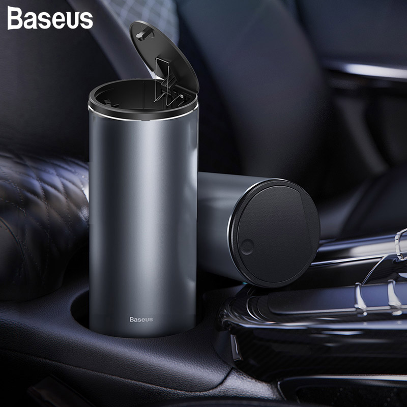 Baseus Car Trash Can Alloy Mini Auto Organizer Storage Bin Car Garbage Box Ashtray Dust Case Holder Universal Auto Accessories