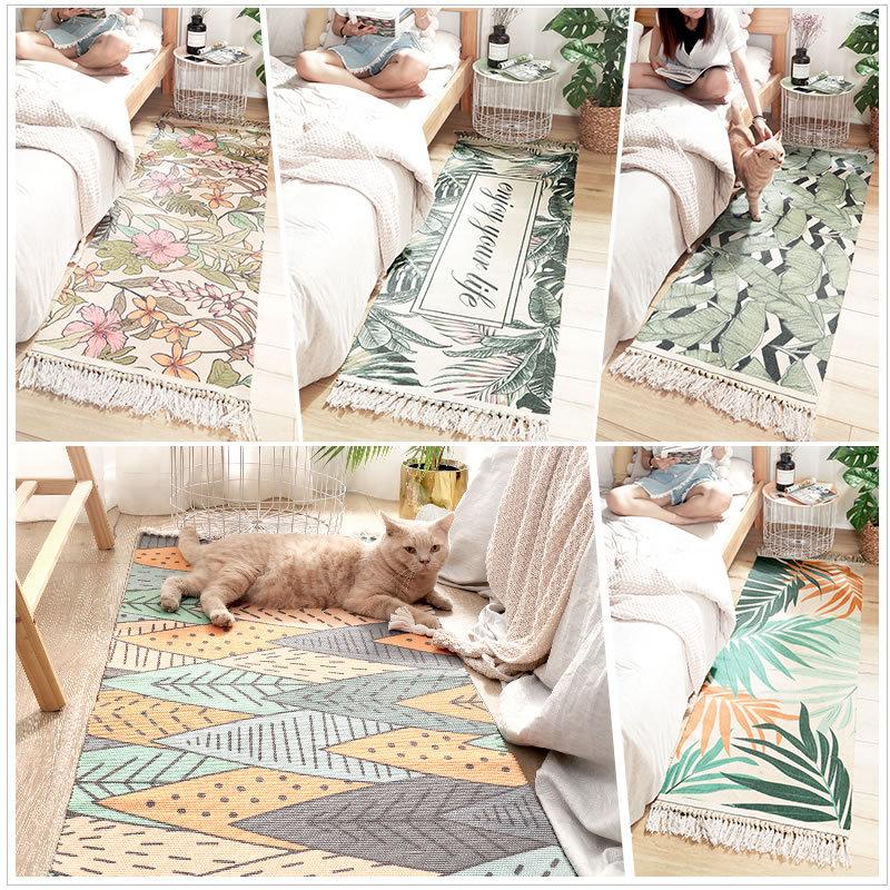 FAMIFUN 100% Cotton Living Room Carpet Bedroom Bedside Non-Slip Rug Green Plant Print Contemporary Design Bohemia Nordic Style