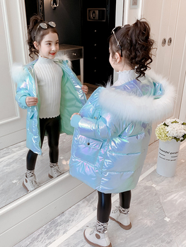 OLEKID 2020 Winter Shiny Jacket For Girls Hooded Warm Children Girls Winter Coat 3-14 Years Kids Teenage Cotton Parkas Outerwear children winter jacket kids winter jackets thicken warm cotton corduroy girls winter coat detachable collar hooded kids outwear