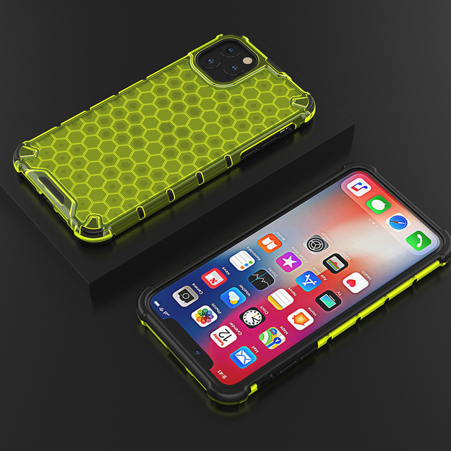 CENMASO For iphone 11 11Pro 11 Pro Max Case For iphone XR XS X Max 7 8 Plus Honeycomb Transparent Hybrid Silicone Case Cover