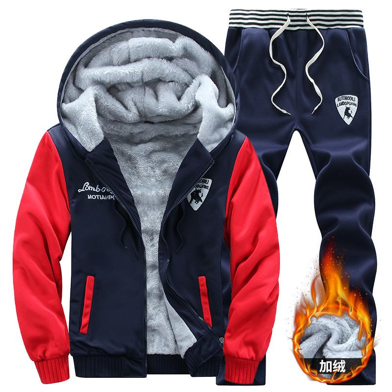 Winter Warm MEN'S Hoodie Set Plus Thick Wool Casual Men's Sports Clothing Two Pieces