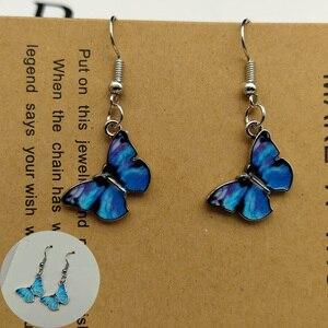 Blue Butterfly Drop Earrings for Women Multicolor 2021 Alloy Dangle Earrings Statement Earring Wedding Jewelry Wholesale