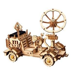 Image 2 - Robotime rokr diyソーラーエネルギー木製ブロックおもちゃモデル構築キットスペース狩猟組立おもちゃ子供のため